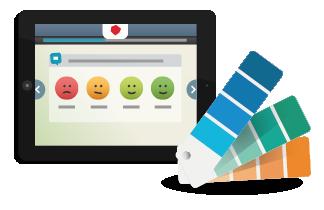 Enquete de satisfaction à questions personnalisées par icônes